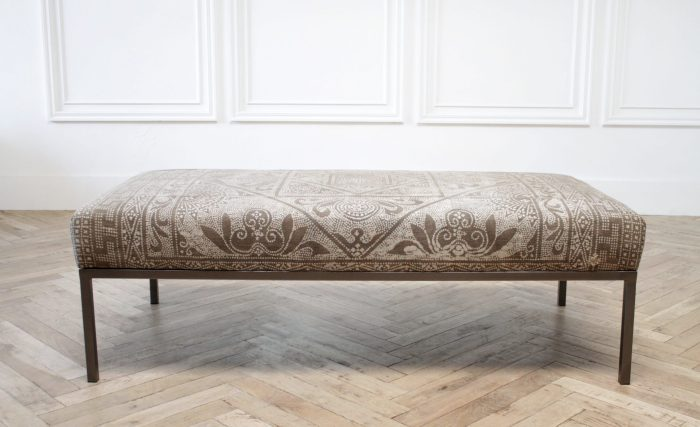 Custom Made Vintage Textile and Iron Cocktail Ottoman Bench
