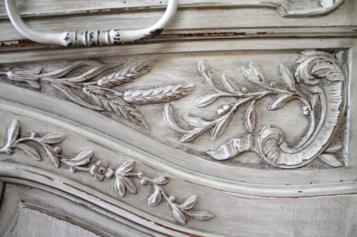 19th Century French Carved and Painted Buffet with Carved Roses