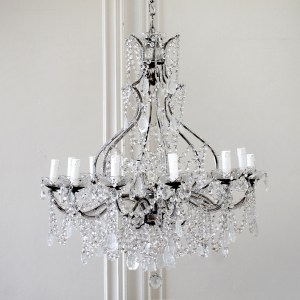 Antique Reproduction Italian Chandelier with Beaded Arms and Rock Style Crystals