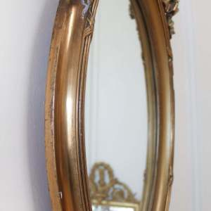 Vintage Louis XV Style Ribbon Carved Oval Giltwood Mirror