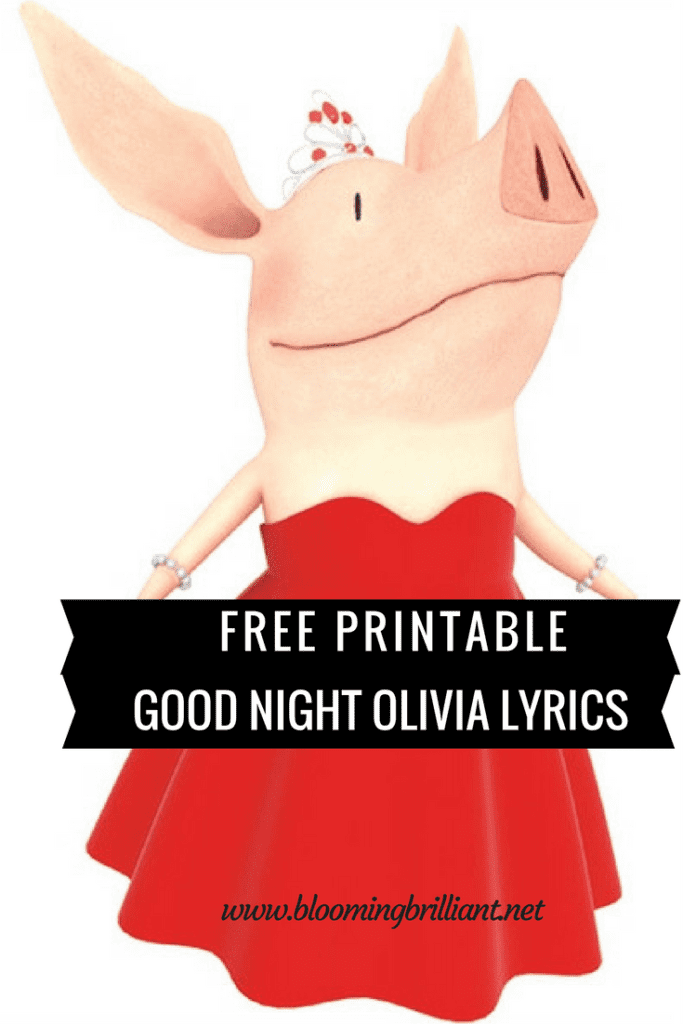 Free Printable Lyrics for Good Night Olivia. If your kids love this Nick Jr. Show then they will love this free printable of song lyrics to one of the best closing songs.
