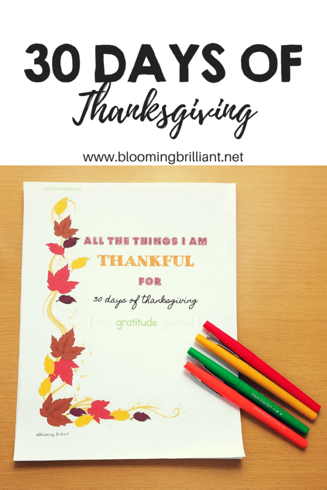 Practice Gratitude all month in November. Teach being thankful for 30 days of Thanksgiving with our printable thankful journal.
