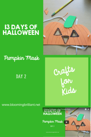 Crafts for Kids- Halloween Pumpkin Mask Craft! Looking for a fun Halloween Craft for your kids? This Halloween Pumpkin Mask Craft is both simple and fun! #CraftsforKids