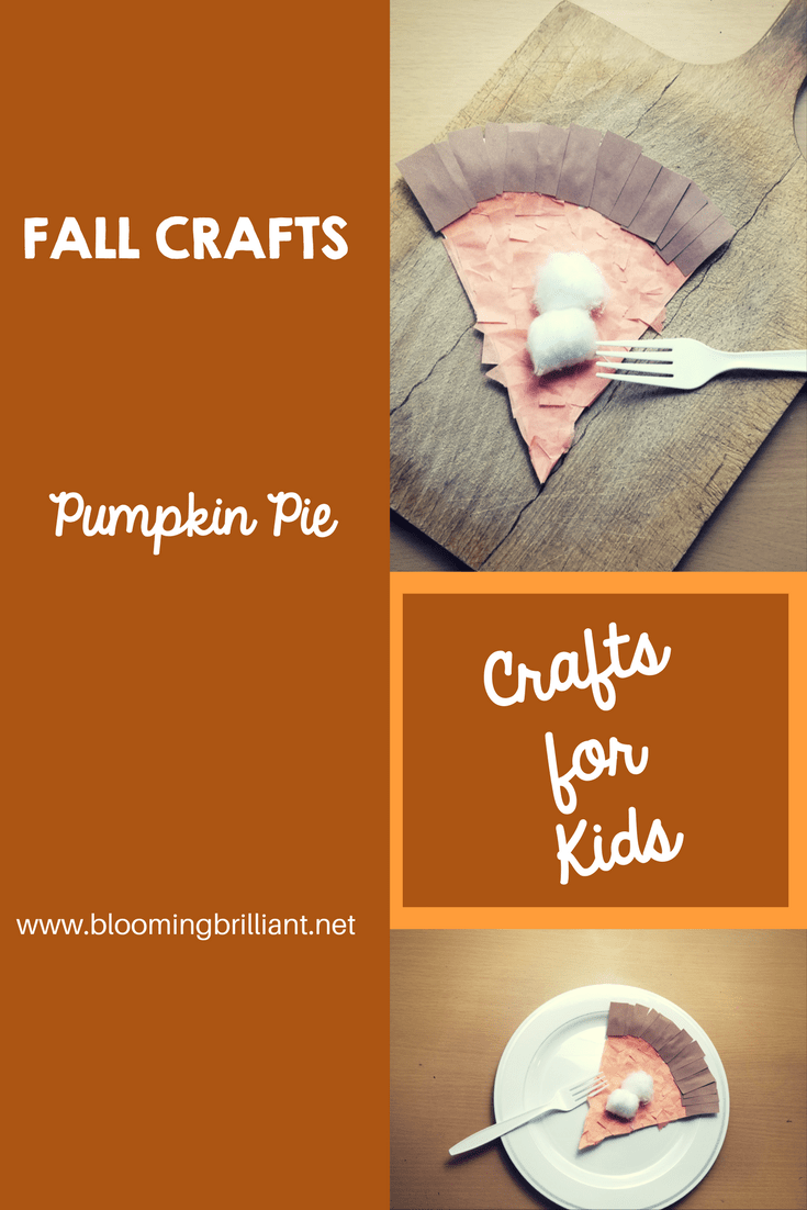 Crafts for Kids- Pumpkin Pie Craft! Looking for a fun craft this fall for your kids? This Pumpkin Pie craft is adorable and fun and it helps children build hand strength needed for developing fine motor skills.