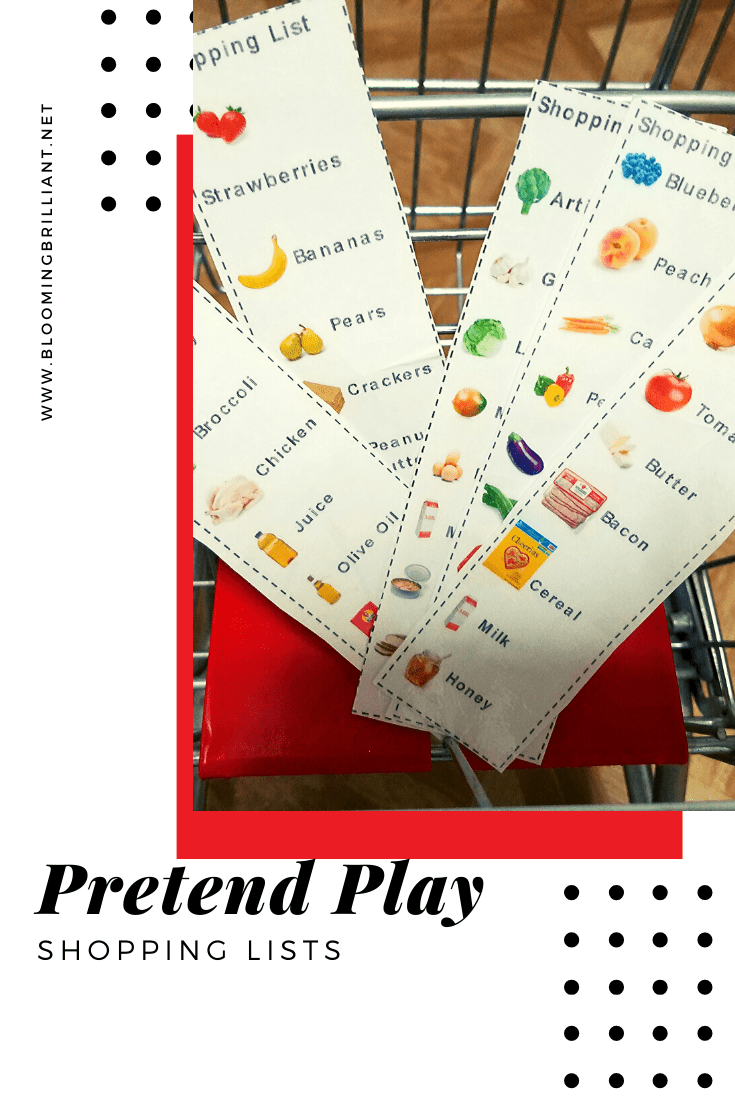 Pinterest Pin: Pretend Play Shopping Lists are a perfect addition for pretend play supermarket. Which is perfect for toddlers and preschoolers and beyond.