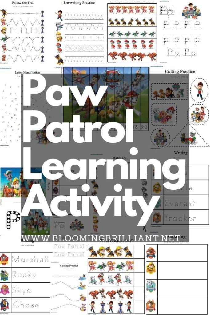Pinterest Pin Paw Patrol Preschool Learning Activity Pack