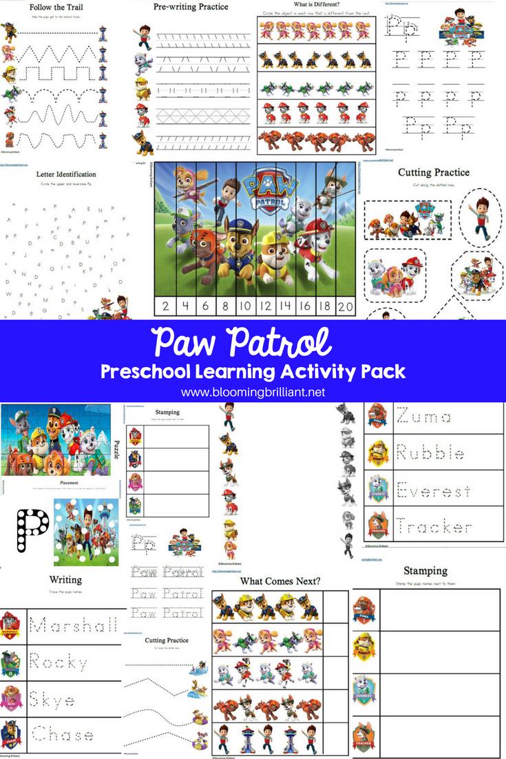 Paw Patrol Preschool Learning Activity Pack