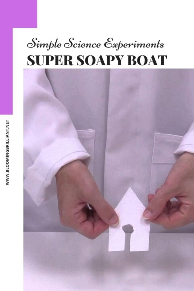 Pinterest Pin Explore Surface Tension in another simple and fun science experiment for kids, called Super Soapy Boat