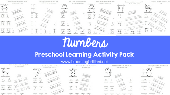 Numbers Preschool Learning Activity Pack