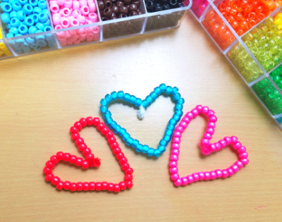 This beaded hearts craft helps develop fine motor skills and hand strength.
