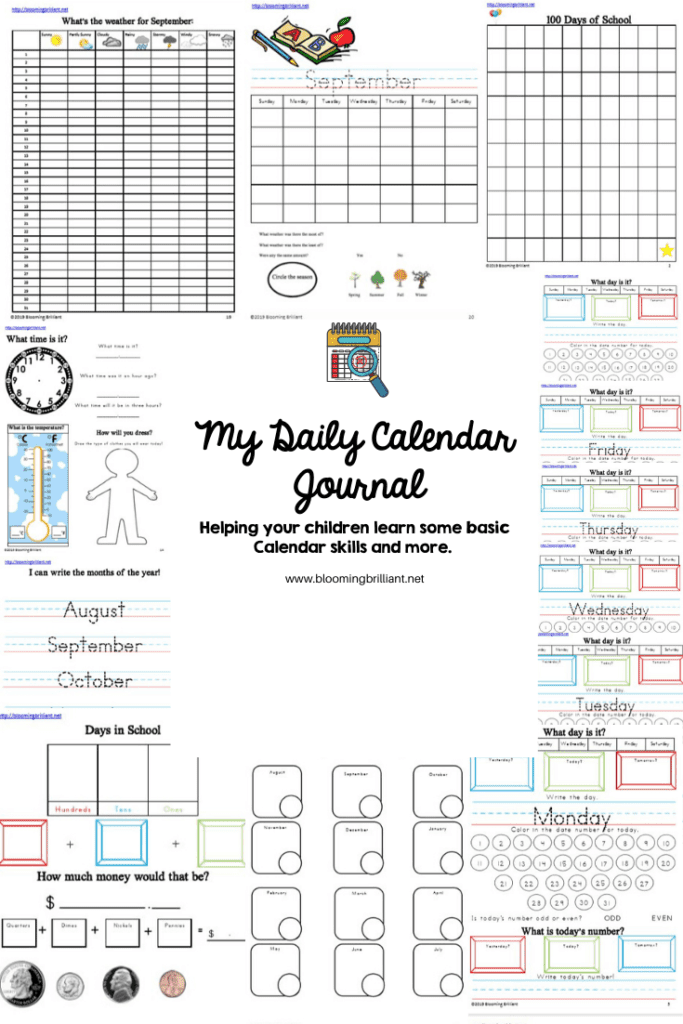 Daily Calendar Journal helping kids develop basic everyday skills.