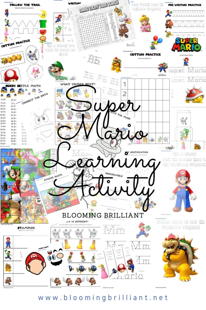 Pinterest Pin Super Mario Learning Activity