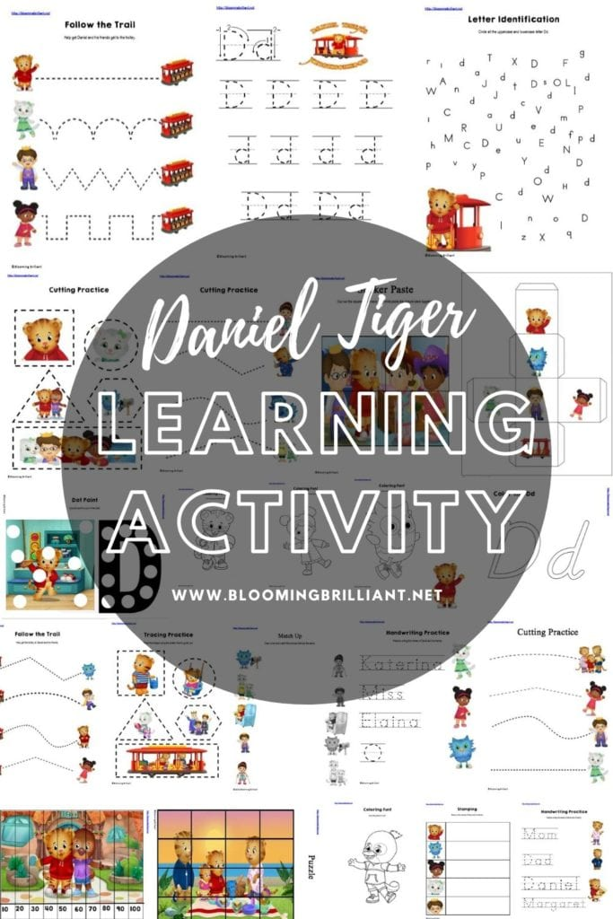 Pinterest Pin Daniel Tiger Learning Activity Pack