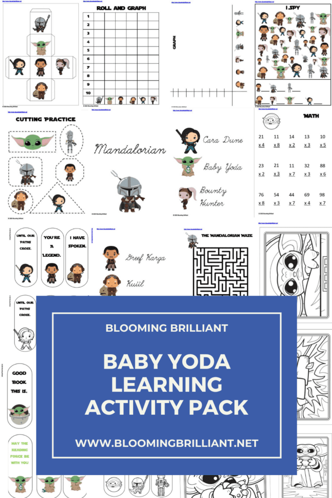 Pinterest Pin Baby Yoda Learning Activity