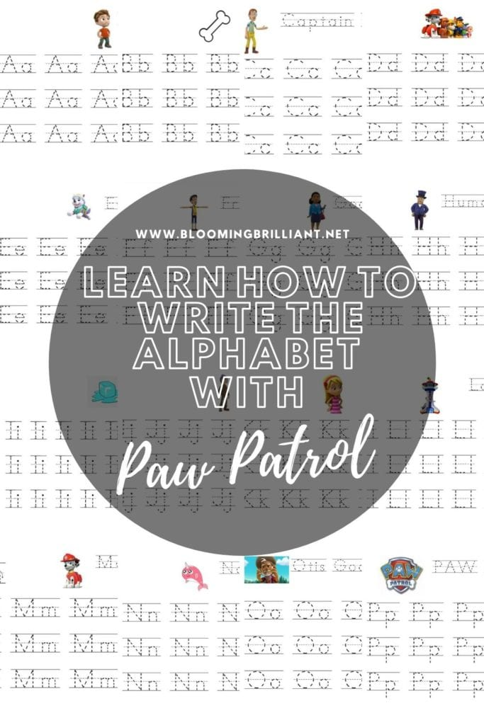 Pinterest Pin Learn How to Write the Alphabet with Paw Patrol