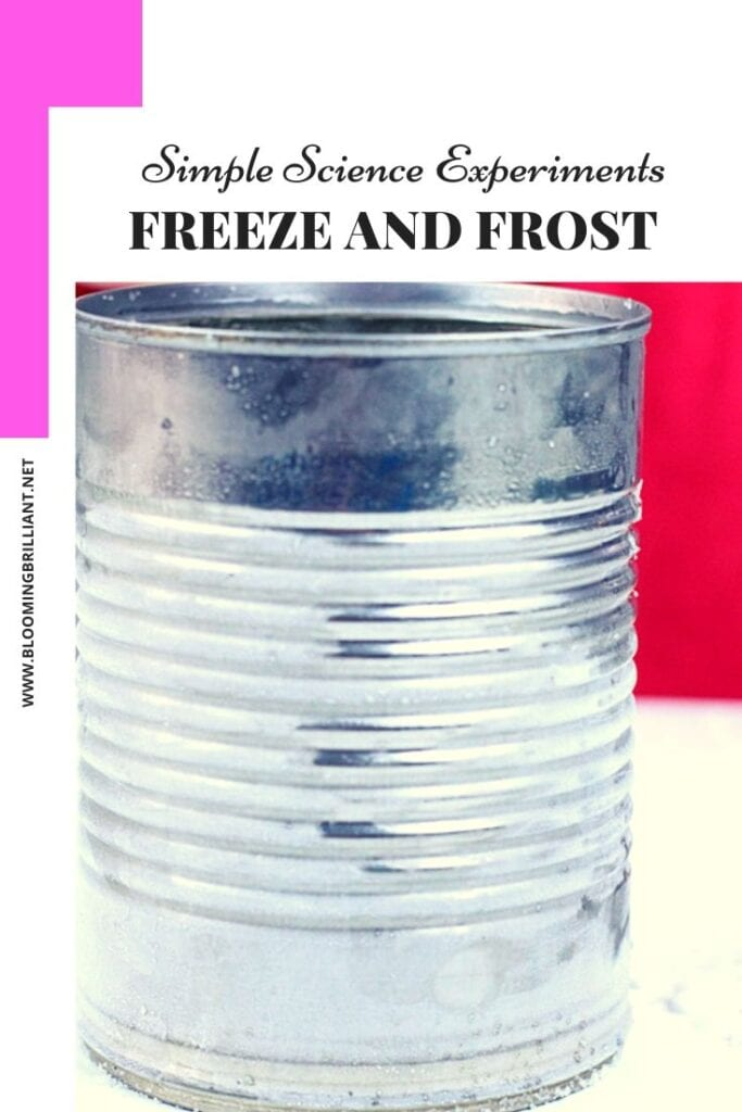 Pinterest Pin Simple Science Experiment for Kids- Freeze and Frost