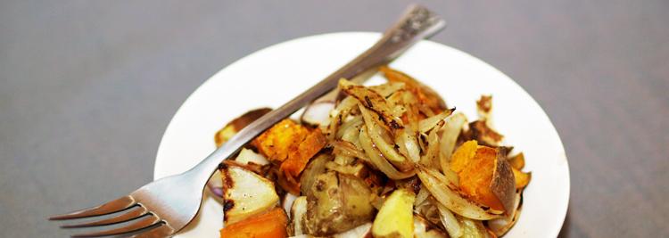 Roasted Potatoes, Sweet Potatoes & Turnips with Shallots
