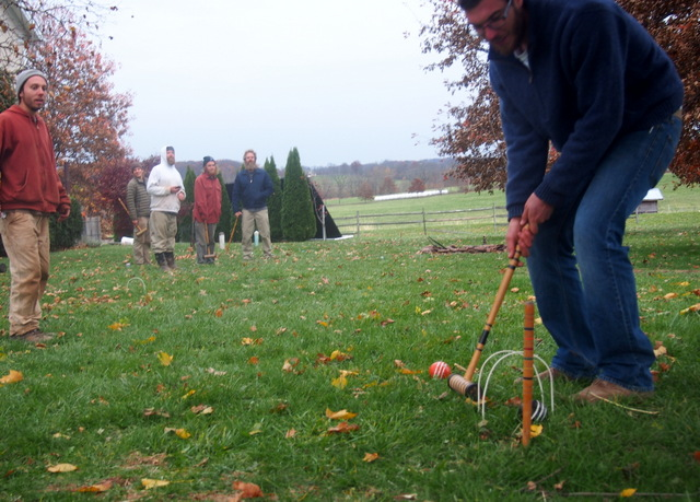 How does the farm crew celebrate the last harvest for the CSA ? Why with a game of croquet of course!