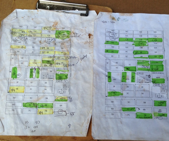 Justin makes weekly and now daily maps to plan out his irrigation schedule.