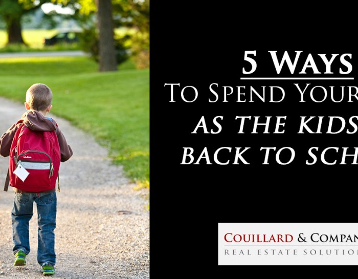 5 Ways To Spend Your Time As The Kids Go Back To School!