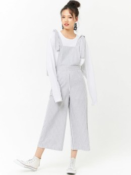 Black striped capri jumpsuit