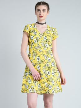 A-line dress yellow printed