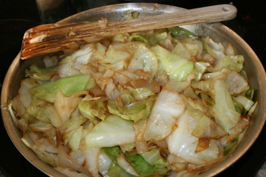 sauteed cabbage and onions until golden brown