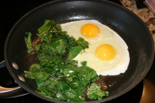 add eggs to kale