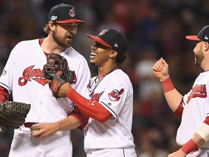Andrew Miller of the Cleveland Indians celebrates Game 1 ALCS win over the Boston Red Sox