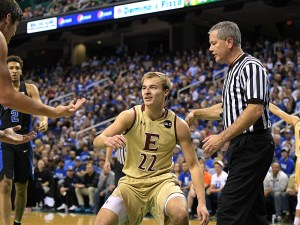 Elon's Steven Santa Ana looks at Duke's Grayson Allen after Allen tripped him during a game.