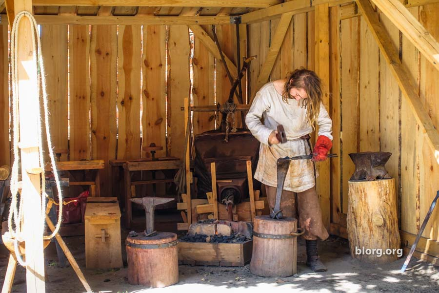 blacksmith making horseshoes