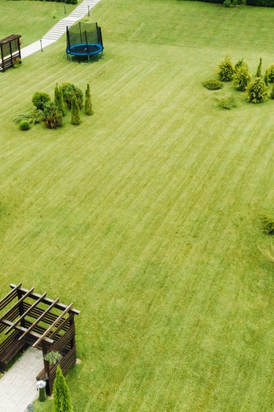 top view of a green lawn with Seating areas and a garden.Landscape area of the site