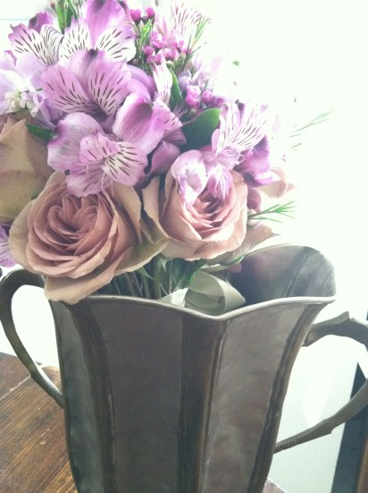 Purple Bouquet waiting for the bride.