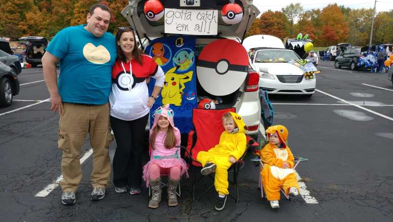 Family dressed up as Pokemon characters.