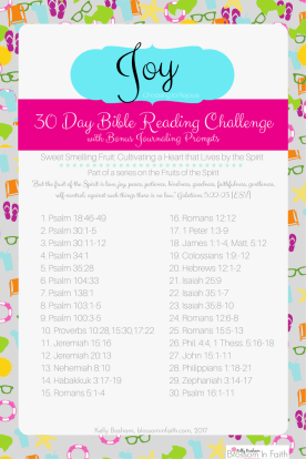30 day Topical bible study reading challenge on Joy. A closer look at the Fruits of the Spirit. Includes bonus journaling paper with prompts.(2)