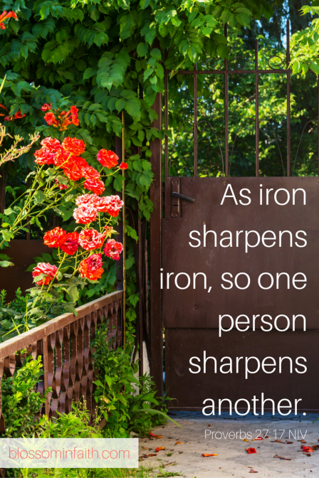 As iron sharpens iron, so one person sharpens another. Proverbs 27:17