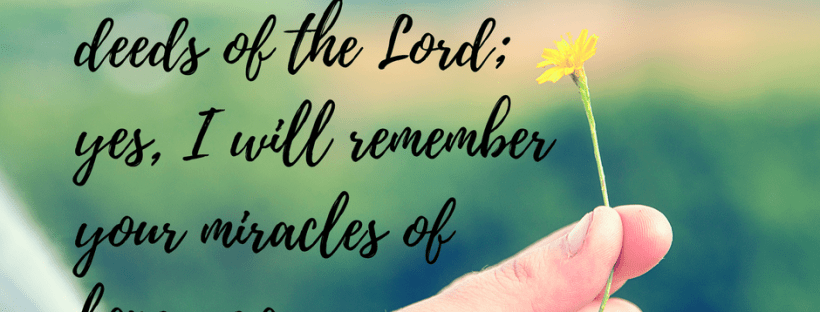 """How to cultivate a thankful mindset and put a little joy back in your heart. """"I will remember the deeds of the LORD; yes, I will remember your miracles of long ago."""" Psalm 77:11"""