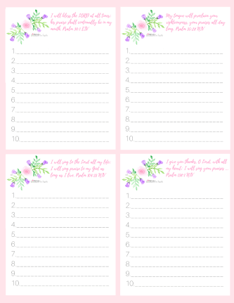 Pretty in Pink and Purple floral inspirational to-do list. Inscribed with scriptures from the Psalms.