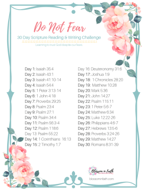 30 Day Topical Bible Study Reading Plan on Fear.