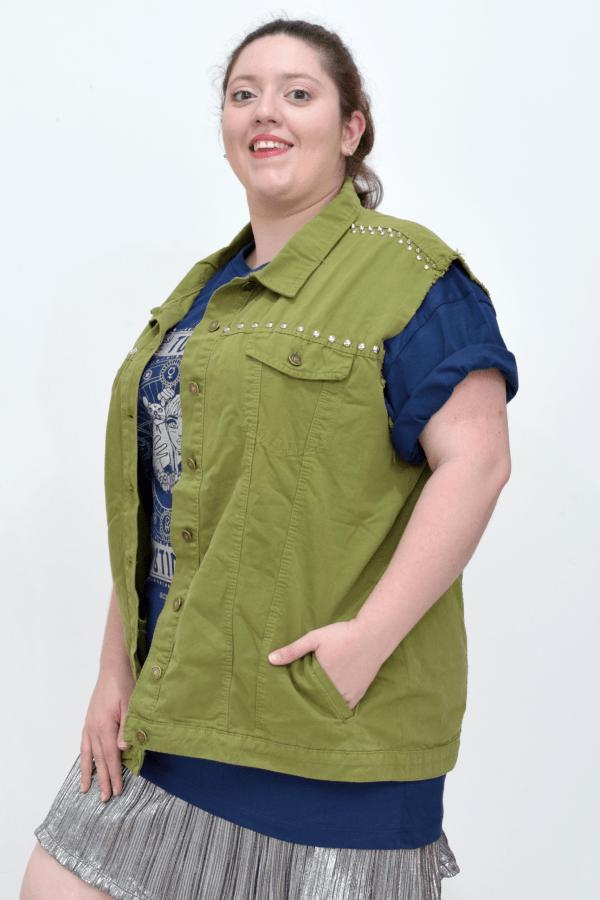 colete-jeans-mix-militar-customizado-blossoms-plus-size