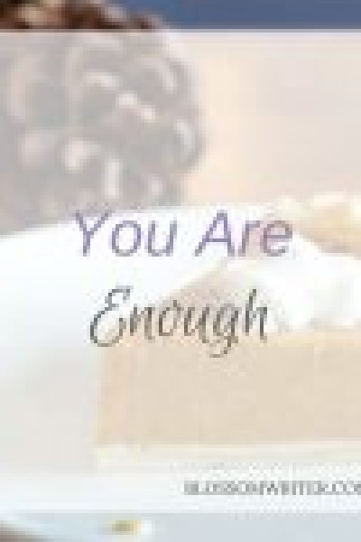 "A slice of pumpkin pie on a white plate. In the background are pinecones on a wooden table. Text reads, ""You Are Enough."""