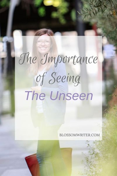 "An image of Melissa from a distance, smiling while walking down the street. The overlain text reads, ""The Importance of Seeing The Unseen."""