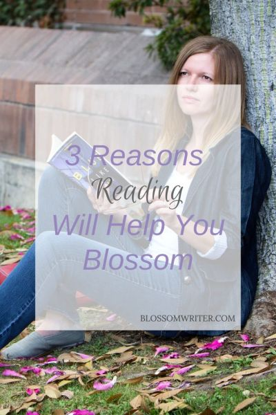"Melissa McMillan sitting under a tree reading a book. Text reads, ""3 Reasons Reading Will Help You Blossom."""