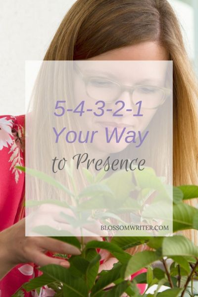 "An image of Melissa touching some green leaves. Text reads, ""5-4-3-2-1 Your Way to Presence."""