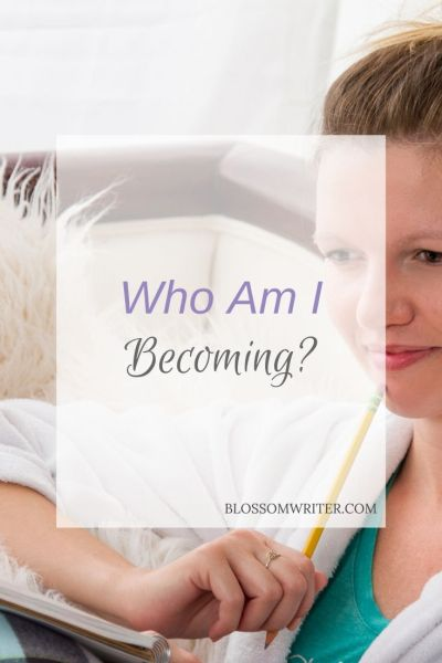 "Melissa McMillan sitting on a couch in her pajamas, looking down at a notepad with a pencil in hand. Text reads, ""Who Am I Becoming?"""