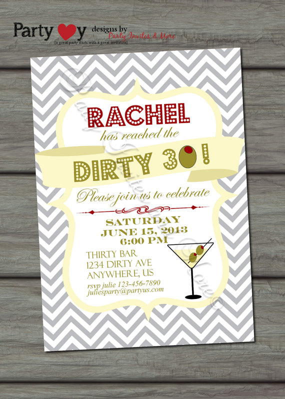 30th Birthday Party The Dirty 30 B Lovely Events – 30th Party Invitations