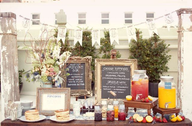 Love this rooftop vintage wedding pancake bar!