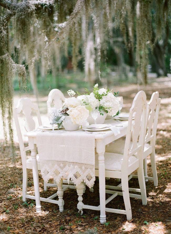 All White Wedding decor-outdoors!