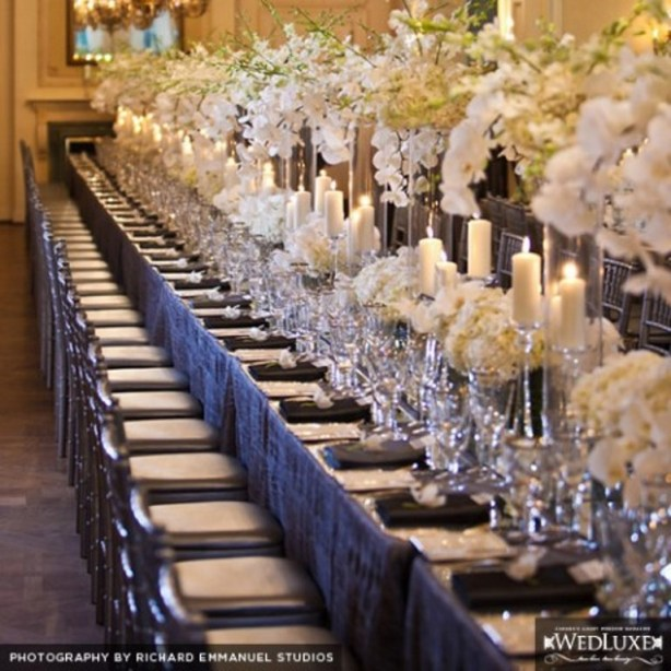 Beautiful White and Silver Orchid Wedding Tablescape