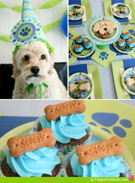 Dog Party Ideas - Table settng, dog plates, dog sandwiches, dog bone cupcakes